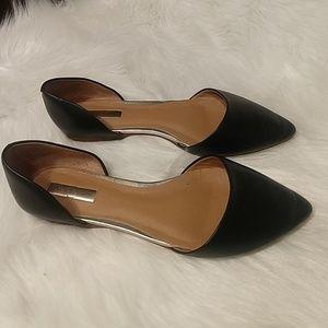 Halogen d'Orsay black leather flats sz 8